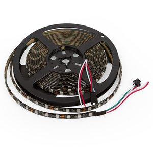 Светодиодная лента RGB SMD5050, WS2811 (черная, c  управлением, IP65, 12 В, 60 диодов/м, 1 м)