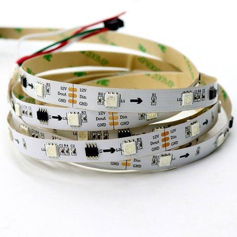 Світлодіодна стрічка RGB SMD5050, WS2811 біла, з управлінням, IP20, 12 В, 30 діодів м, 5 м